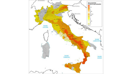article illustration, map, seismic, antiseismic, earthquake, seismic zones, italy, IT