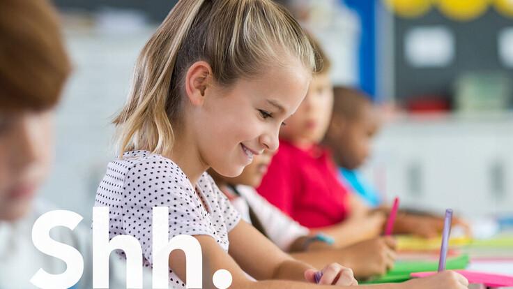 test, rockfon, brand refresh, onomatopoeia, sound words, shh, school, boy, pupil, concentrating, classroom, pencil
