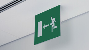 Signage, exit sign, Rockfon Fusion, ventilation outtake